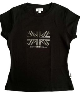 Harrods Short Sleeve Rhinestone Embellished T Shirt Black