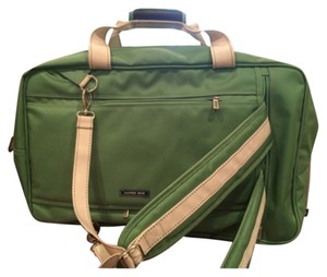 Lands' End Green/brown with Cream handles/stitches Travel Bag