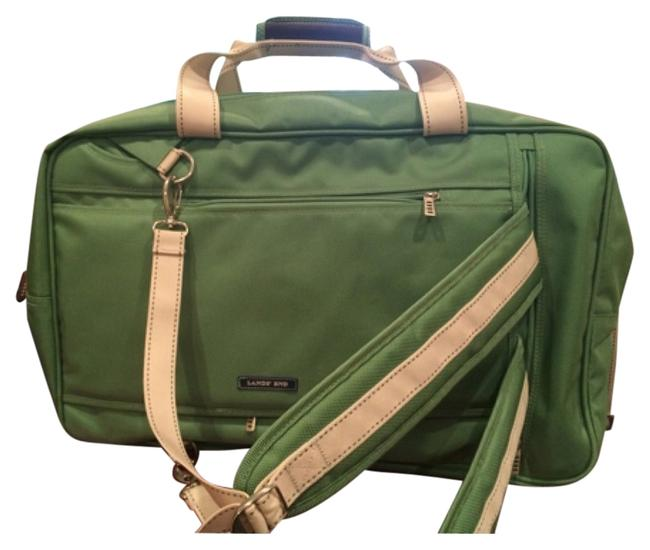 Item - Green/Brown with Cream Handles/Stitches Nylon Weekend/Travel Bag