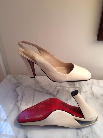 Christian Louboutin Ivory Leather Sling Back Heels Red Sole 7.5 Creme Pumps