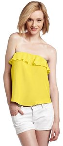 Amanda Uprichard Crop Silk Top Yellow