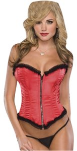 coquette Sexy Satin Corset Lingerie- Red 2pc set