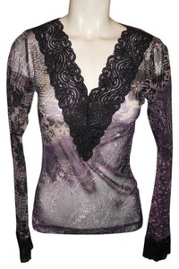 Karen Kane Lace Mesh Top black & purple print