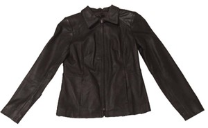 Macy's WPL8046 Leather Leather Scuba Zip Up Fitted Leather Fitted Fully Lined Brown Leather Jacket