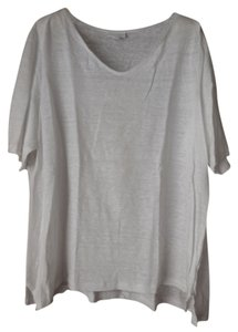 J. Jill Linen Plus-size V-neck T Shirt White