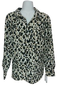 NY Collection Shirt White Leopard Print Ny Button Down Collared Longsleeve Long Sleeves Top Tan and black