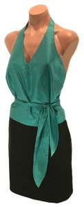 Finity Blue-green Silk Turquoise, Blue, Green Halter Top