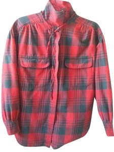 Ralph Lauren Flannel Stylish Unique Top Black and Red