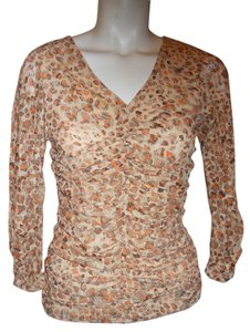 Classiques Entier Lace Top brown, tan, orange & cream print