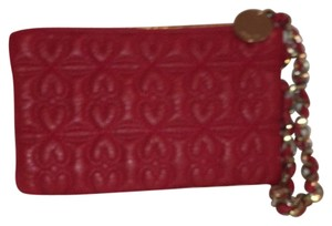 deux lux Leather Quilted Clutch Wristlet in Red