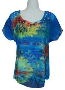 Style & Co Shirt Blue Red Yellow Layered Short Sleeves Medium Beads Beaded Top Multi-color