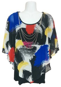 AGB Shirt Blue Red Yellow Layered Poncho Sleeveless Tank Small Necklace Top Multi-color