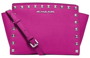 Michael Kors Fuschia/silver Messenger Bag
