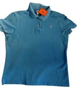 Lilly Pulitzer Teal Polo Shirt Cotton Size M Perfect Button Down Shirt blue
