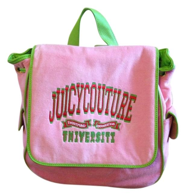 Item - Baby Pink with Lime Green Velour Backpack