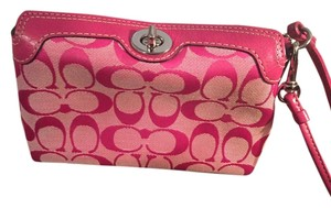 Coach Monogram Wristlet in Pink