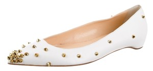 Christian Louboutin Leather Gold Hardware Pointed Toe Spike Spiked Studded Embellished Degraspike 39 9 White, Gold Flats