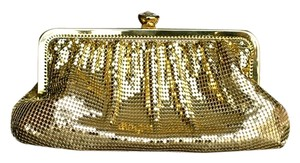 Whiting & Davis & Evening Metallic Gold Clutch