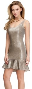 bebe Sequin Sparcle Ruffle Coctail Dress