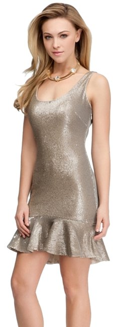 Item - Tan Beige Sequin Ruffle Mid-length Night Out Dress Size 4 (S)