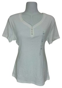 Karen Scott Blouse Buttons T Shirt White