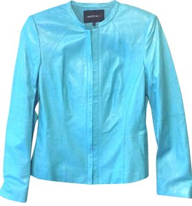 Lafayette 148 New York teal Leather Jacket