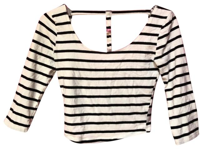 Preload https://item2.tradesy.com/images/charlotte-russe-white-and-black-preppy-trendy-stripe-crop-night-out-top-size-4-s-925876-0-2.jpg?width=400&height=650
