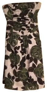 Ruby Rox short dress green, white, dark brown Strapless Floral Above Knee on Tradesy