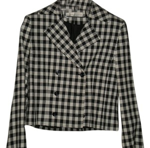 Valerie Stevens Cream and Black Plaid Blazer