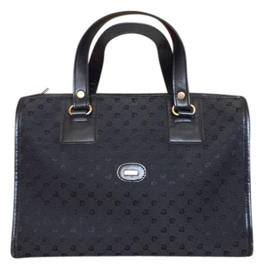 Preload https://img-static.tradesy.com/item/926001/pierre-cardin-vintage-logo-black-canvas-and-leather-satchel-0-0-540-540.jpg