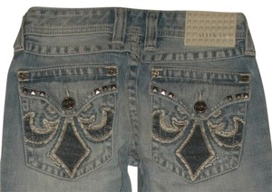 Affliction 5 Pocket Style Relaxed Cotton Zip Fly Back Flap Pockets Copenhagen Wash Style: 10rs4158r Cut: 8843 Whiskering & Detail Straight Leg Jeans-Light Wash
