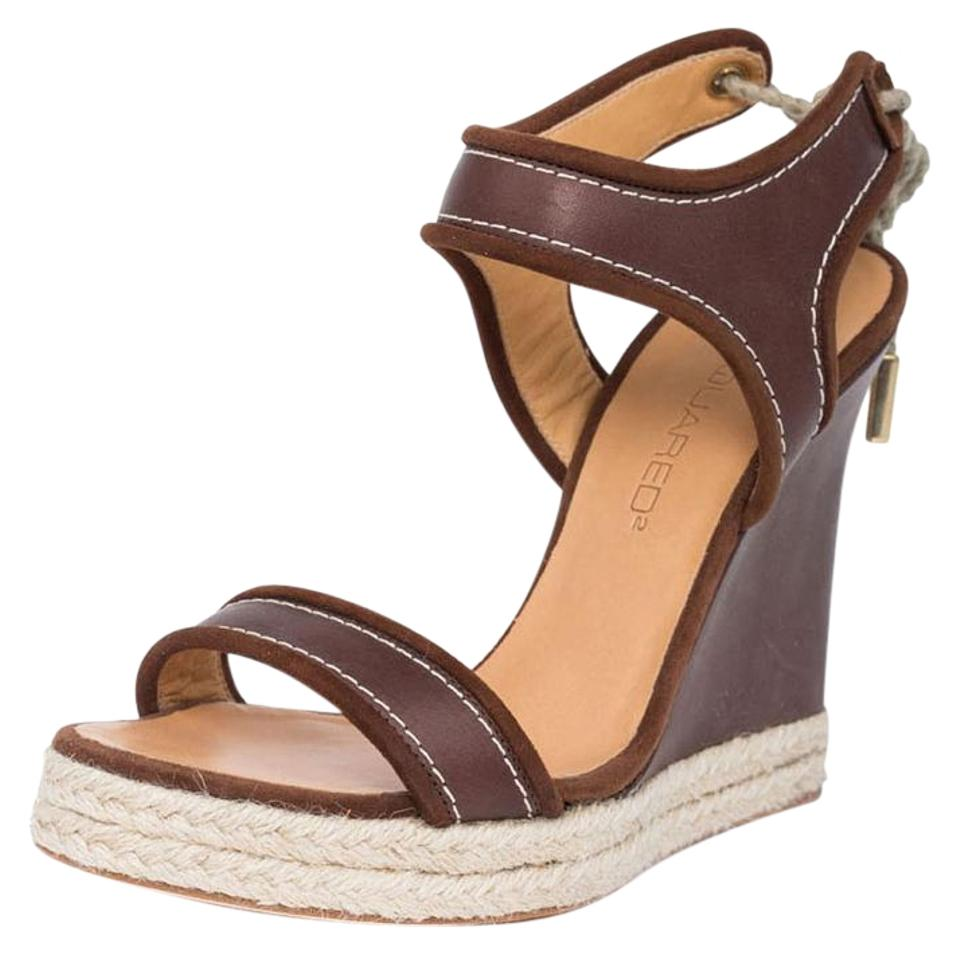 Dsquared2 Brown Rope New Women Genuine Leather Rope Brown Platform Wedges Eu 36 Sandals 256230