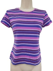 Striped Stretchy 90's T Shirt Purple print