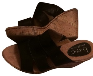 Born Concepts b.o.c leather cork wedge strap sandals Blac Wedges