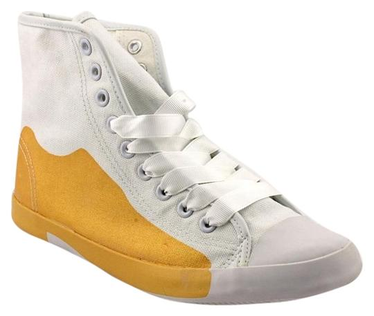 Preload https://item1.tradesy.com/images/be-and-d-white-with-gold-ultra-hip-high-top-oxford-sneaker-sneakers-size-us-75-926160-0-0.jpg?width=440&height=440