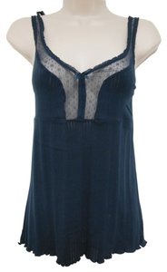 Old Navy Lace Lace Trim Cotton Cut-out Top Navy