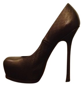 Saint Laurent Printed Leather Covered Heel Platform Brown Leather Pumps