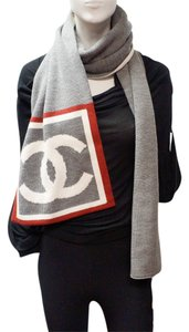 Chanel CHANEL CC LOGO REVERSIBLE GRAY IVORY WOOL KNIT WARM WIDE SCARF MUFFLER SKI