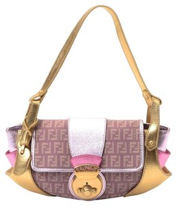 Fendi New Borsa Tuc Lilac Zucchino Canvas Handbag Baguette Shoulder Bag