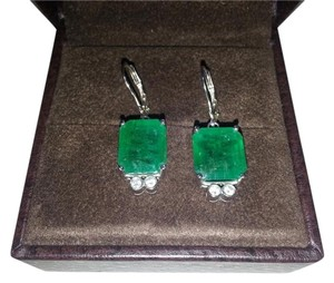Other Gorgeous Large Emerald & Diamond Earrings set in Platinum
