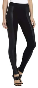 BCBGMAXAZRIA Faux Leather Paneled Black Leggings