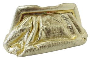Judith Leiber Vintage Snakeskin Evening Leather Strap Gold Clutch