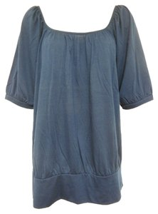 Xhilaration Drape Reverse Wrap Scoop Neck Top Navy