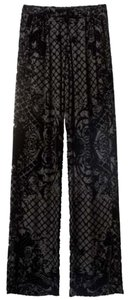 Balmain x H&M Velvet Trousers Silk Wide Leg Pants Black