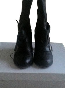 Steve Madden Leather Buckles Black Boots
