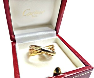 Cartier CARTIER TRINITY 18 KARAT TRICOLOR GOLD ROLLING BAND RING Size 8
