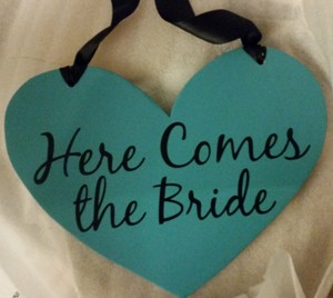 """Turquoise Black Heart-shaped """"Here Comes The Bride/Let's Party"""" Wedding Sign"""