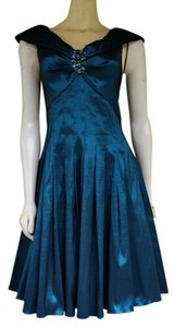 Jessica Howard Taffeta Pin Rhinestone Pleated Shawl Collar Dress