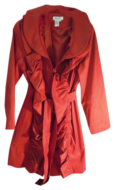 Item - Red D & Y Water Repellent Rain Jacket with Belt Bold Statement Coat Size 12 (L)