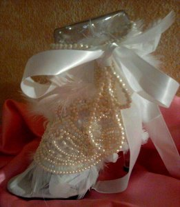 White (More Colors Available) Cinderella Pearl Crystal Bejeweled Chandelle Feather Stilettos Bridal Evening Party Formal Size US 10 Regular (M, B)